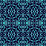 Damask seamless wallpaper: blue on dark blue Stock Photography