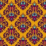 Damask vector festive yellow abstract pattern. Damask vector festive yellow abstract seamless pattern Stock Photos