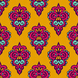 Damask vector festive yellow pattern Royalty Free Stock Photo