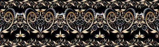 Floral vintage seamless border. Damask ornaments. Damask vector seamless border  pattern. Floral background. Vintage hand drawn elegance flowers, swirls, leaves Royalty Free Stock Photo