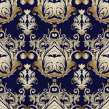 Damask vector seamless pattern. Blue floral baroque background. Royalty Free Stock Photography