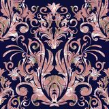 Damask vector seamless pattern. Floral baroque dark blue background with pink silver damask flowers, scrolls, curves, leaves, ant. Ique ornaments. Luxury design stock illustration