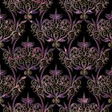 Damask swirl violet flowers seamless pattern with dots. Damask vector seamless pattern. Floral black violet gold background. Vintage hand drawn elegance flowers Stock Images