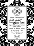 Damask victorian brocade pattern invitation. Damask victorian brocade pattern design for wedding invitation in black and white. Floral swirls royal frame and vector illustration