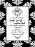 Damask victorian brocade pattern invitation. Damask victorian brocade pattern design for wedding invitation in black and white. Floral swirls royal frame and stock illustration