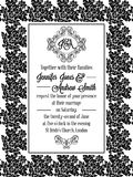 Damask victorian brocade pattern invitation. Damask victorian brocade pattern design for wedding invitation in black and white. Floral swirls royal frame and royalty free illustration
