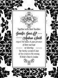 Damask victorian brocade for wedding invitation. Damask victorian brocade pattern design for wedding invitation in black and white. Floral swirls royal frame and vector illustration