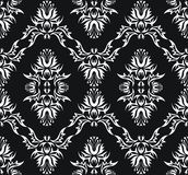 Damask (Victorian) seamless black texture Royalty Free Stock Photos