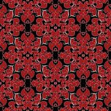 Damask vintage love hearts seamless pattern. Black floral vector. Background wallpaper  with red abstract love hearts paisley flowers and white swirl line art Royalty Free Stock Photos