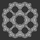 Damask wallpaper. Circle lace ornament, round ornamental geometric doily pattern, christmas snowflake decoration. Vector Royalty Free Stock Images
