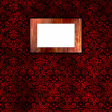 Damask wallpaper with wooden frame 3 royalty free stock image