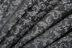 Damask, wavy black texture background Stock Photos