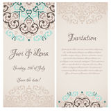 Damask wedding invitation banners Royalty Free Stock Images
