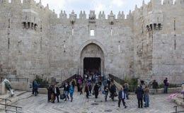 Damaskus-Tor Alte Stadt Jerusalems, Israel stockbilder