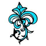 Damassé mignonne, modèle sans couture abstrait de fleur de lis avec la décoration tirée par la main illustration libre de droits