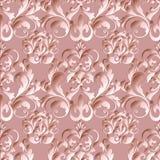 Damast-Blumenvektor-nahtloses Muster Hellrosa aufwändiges Blumen Lizenzfreie Stockfotos