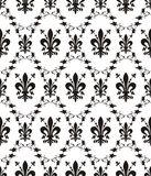 damast de fleur lis kunglig seamless textur royaltyfri illustrationer
