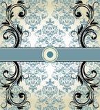 Damast-Einladungskarte der Weinlese blaue Lizenzfreie Stockbilder