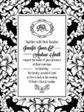 Damast modelldesign för att gifta sig inbjudan i svartvitt Kunglig ram för brokad och utsökt monogram stock illustrationer