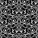 Damast naadloos wit en zwart ornament Stock Foto
