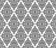 Damast naadloos wit en zwart ornament Stock Fotografie