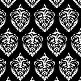 Damast naadloos wit en zwart patroon Royalty-vrije Stock Afbeeldingen