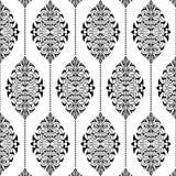 Damast naadloos wit en zwart patroon Stock Fotografie