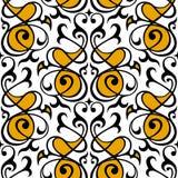 Damast naadloos wit, geel en zwart ornament Stock Afbeeldingen