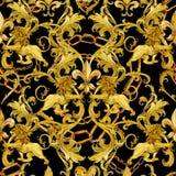 Damast sömlös lyxig design för guld- kedjor guld- lejonmodell tappningrikedom snör åt bakgrund vattenfärgfransk liljaillustrat royaltyfria foton