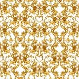 Damast sömlös lyxig design för guld- kedjor guld- lejonmodell tappningrikedom snör åt bakgrund vattenfärgfransk liljaillustrat royaltyfri illustrationer