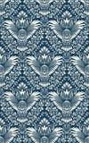 Damast sömlös modell med ugglakonturn Tappning som upprepar bakgrund Blom- prydnad av blåa signaler i barock stil vektor illustrationer