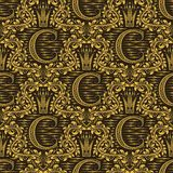 Damast sömlös modell som upprepar bakgrund Brun blom- prydnad för guld med c-bokstaven och krona i barock stil vektor illustrationer