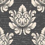 Damast sömlös modellbeståndsdel för vektor med forntida text Klassisk lyxig gammalmodig damast prydnad, kunglig person royaltyfri illustrationer