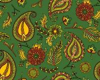 Damast sömlös modell med blommor i indisk stil Blom- vektortapet grön textiltextur Arkivfoton