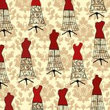 Damast tapet med dressforms stock illustrationer