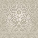 Damast-Weinlese-nahtloser Muster-mit Blumenhintergrund. Stockfoto