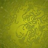 Damastast grön blom- bakgrund Arkivbild