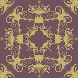 damastast purpur wallpaper Royaltyfri Illustrationer