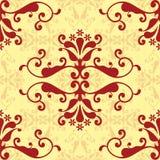 damastast röd wallpaper Stock Illustrationer