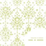 Damastblumen-Rahmenecke des Vektors grüne Textil Lizenzfreies Stockfoto