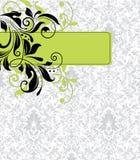 Damasteinladungs-Blumenkarte Stockfoto