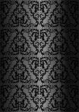 Damastnahtloses Blumenmuster Königliche Tapete Schwarzer Tracery auf einem schwarzen Hintergrund Stockfotos