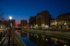 Dambovita flod i Bucharest Royaltyfria Foton