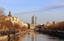 Dambovita River and Bucharest Financial Plaza, Romania Royalty Free Stock Image