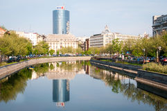 Dambovita river and Bucharest landscape Royalty Free Stock Photography