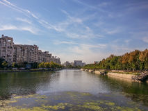Dambovita river from bucharest, romania Royalty Free Stock Photography