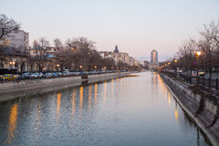 Dambovita river in Bucharest Stock Image