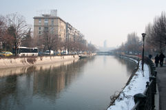 Dambovita river cityscape Royalty Free Stock Photo