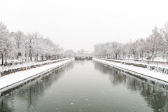 Dambovita River During Heavy Snowfall In Winter Stock Image