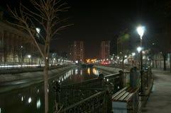 Dambovita river by night Royalty Free Stock Photos